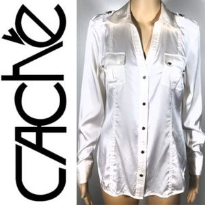 Cache REAL PURE SILK Button Down Top